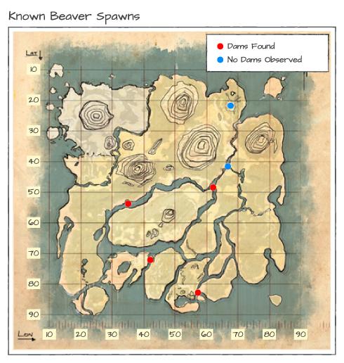 карта спауна бобровых плотин ark survival evolved