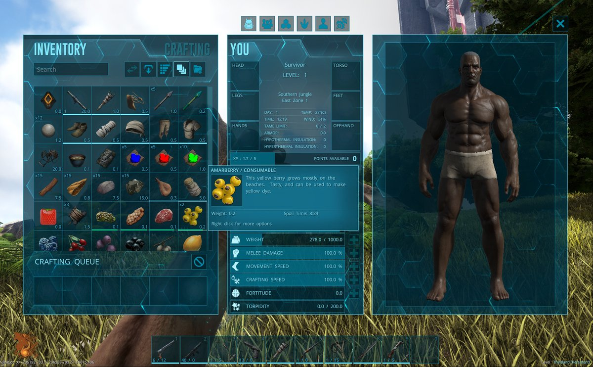 Обновленный дизайн меню инвентаря ARK Survival Evolved