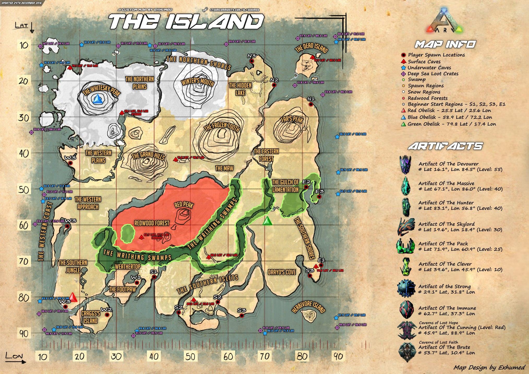 Карта пещер ARK Survival Evolved