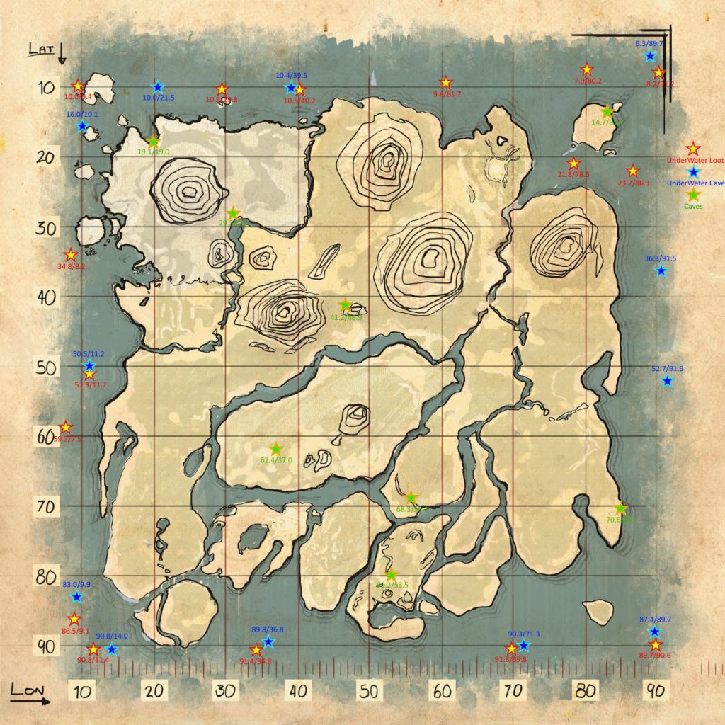 ARK Карта подводного Дропа/Лута ark survival evolved